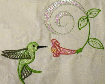 Machine Embroidery Design- Hummingbird Colorline #10 with 3 sizes Included!