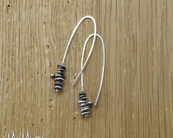Oxidized Silver Earrings, Unique Earrings, Threader Earrings, Beaded Earrings, Sterling Silver Earrings, Pull Through Earrings, Gift for Her