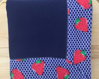 Strawberry Flannel Receiving Blanket with Contrasting Trim