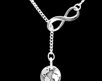 Infinity Earth World Planet Geography Globe Atlas Travel Y Lariat Necklace