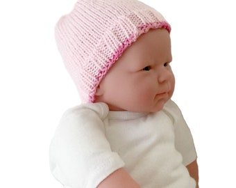 Newborn knitted hat, pink baby beanie, infant hospital hat, baby girl beanie, baby girl birth gift, hand knit infant hat,  pink baby hat
