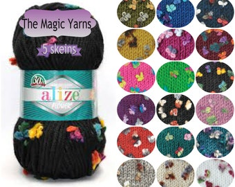 Alize  Flower-Fancy yarn by Alize,Maxi flower Set of 5 skeins, super bulky, very bulky yarn, wool blend, 14 ply, double double knitting yarn