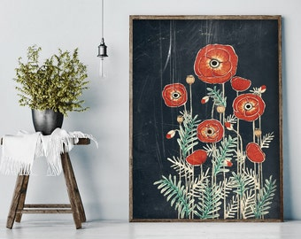 "Original Drawing - Poppy Flowers - 8.5x12"" up to 24x34"" Art Print, Wall Decor, Illustration"