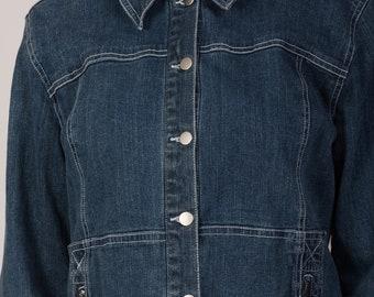 dark blue jean jacket / 90s denim jacket / classic jean jacket / small