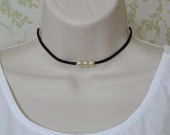 Three Pearl Choker Necklace, Black Faux Suede Triple Pearl Choker, Thin Black Choker, Cream Faux Pearl Choker