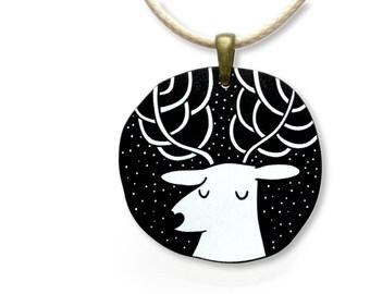 Girls Jewellery Necklace WOODEN ***SNOW DEER***