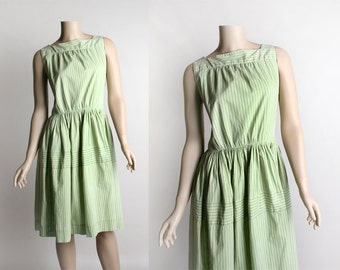 Vintage 1960s Cotton Dress - Pastel Mint Green Striped Cotton Day Dress - 1950s Style - Medium Small