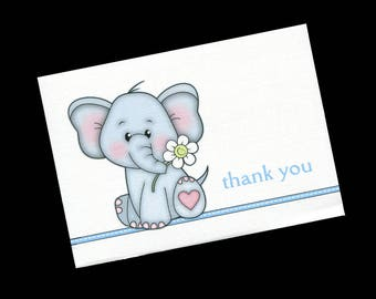 Thank You Cards for Baby Boy Shower Gifts, Blank Thank You Cards, Blank Notecards, Elephant