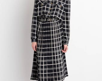 80s Black White Plaid Shirt Dress M
