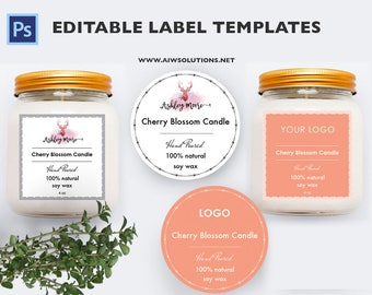 candle label, soy wax label,  label template, Skin Care label, product label, round label template, sticker template,square jar label