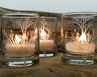 Tree Branch Candle Holders Engraved Forest Votive Holders Winter Home Decor Holiday Candle Holder Wedding Table Decor