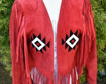 Women's vintage fringe western red suede leather jacket, Daniel Zahr USA made coat sold out