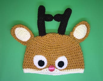 Rudolph the Red Nosed Reindeer Crochet Hat - Child / Kids Size - Machine Washable