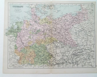 Germany and Holland antique map from Bacon's atlas dated 1880 26cm x 32cm