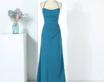 Halter Neck Style Long Chiffon Bridesmaid Dress with Back Lace Detail