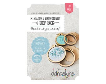 Pack of 4 Mini wood Oval 2.7x4.5cm and 3.4x6.2cm - Dandelyne embroidery hoop