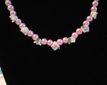 Pink rose pearl necklace