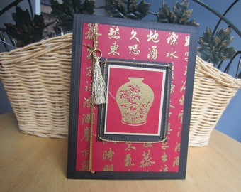 Asian themed note card, Oriental themed note card, Asian gold and red vase note card