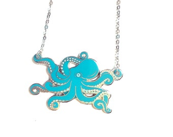 Octopus necklace (hard enamel necklace enamel jewelry cute octopus jewelry cephalopod octopus jewelry cloisonne statement necklace fashion)