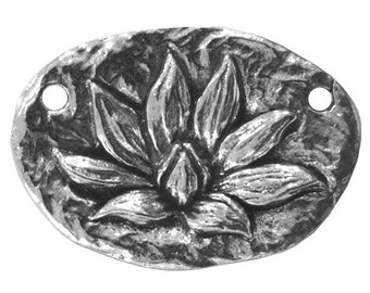 Green Girl Lotus Blossom Enlightenment 1 and 1/16 inch ( 28 mm ) Pewter Link Centerpiece