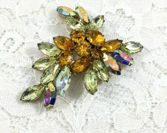 Vintage Unsigned Amber, AB, Yellow Rhinestone Brooch Pin