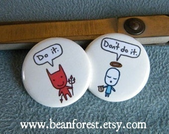devil and angel - pinback button badge