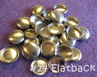 50 Cover Buttons FLAT BACKS- 5/8 inch - Size 24  flat backs no loops covered buttons notion supplies diy refill