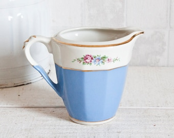 Lovely Vintage French Creamer Blue Gold and Floral Pattern || Porcelain Milk Jug - Shabby Chic Style