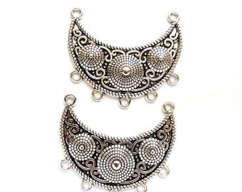 2 Antique Silver Chandelier Moon Connectors - 1-41