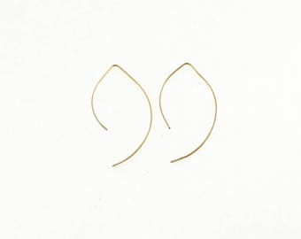Small Curved Drop Earring, Sterling Silver, 14k Gold Fill, Simple Dangle
