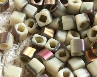TOHO Cube Seed Beads 4mm, HYBRID Apollo - Frosted Light Beige , (TC-04-Y856F), Qty. 10 grams