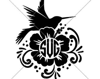 Hummingbird Monogram Frame humming bird SVG dxf Files for Cutting Machines like Silhouette Cameo and Cricut, Commercial Use Digital Design
