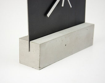 Concrete and Iron Table Clock - minimal - modern - industrial - design