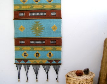 Vintage Tribal Wall Rug, Geometric, Boho, Wall fabric Art, Hand wooven rug, Cottage chic, Rustic home decor, Gift for Hostess, Retro Curtai
