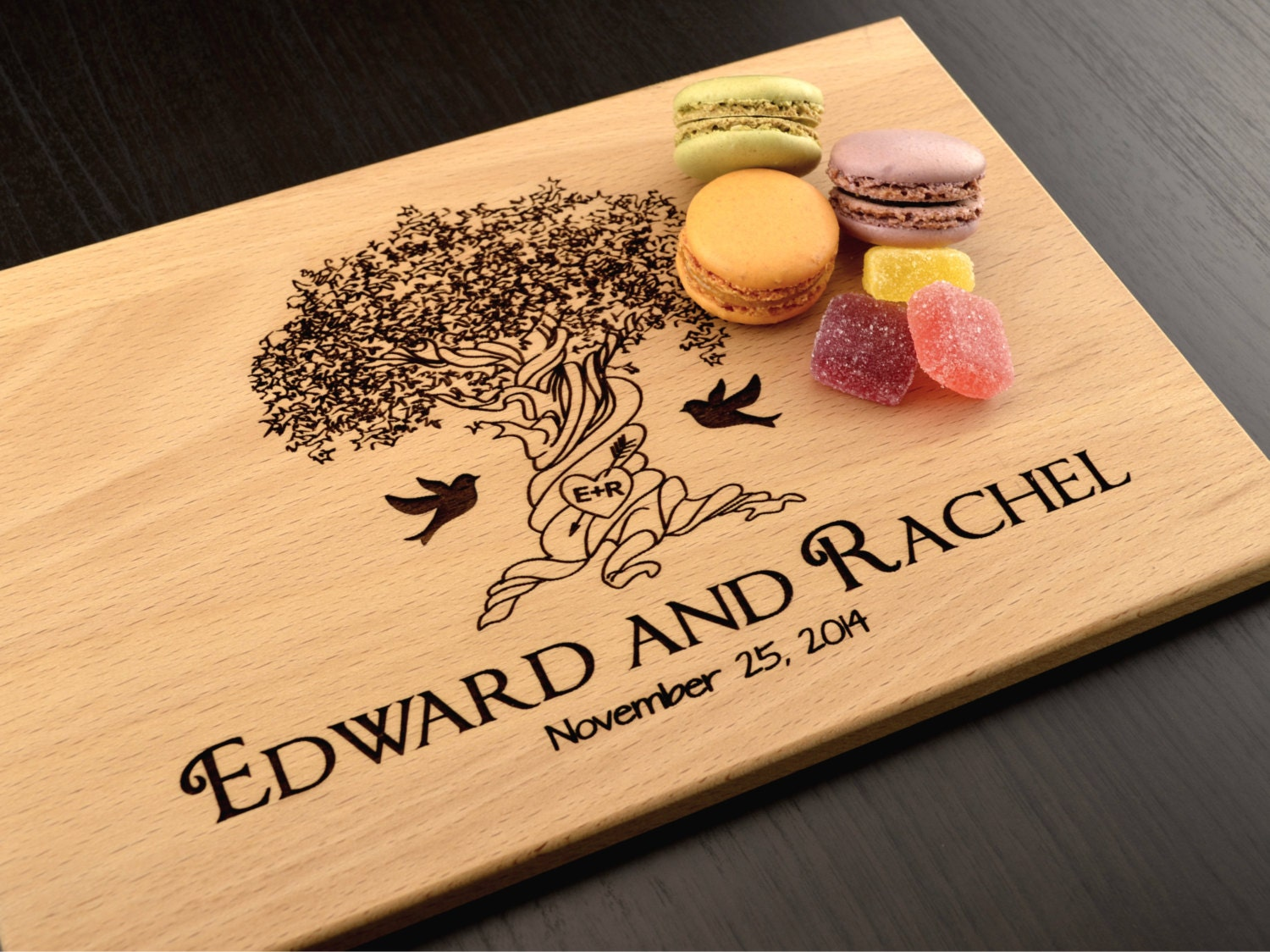 Engraving Wedding Gifts: Engraved Cutting Board Tree Personalized Wedding Gift Custom