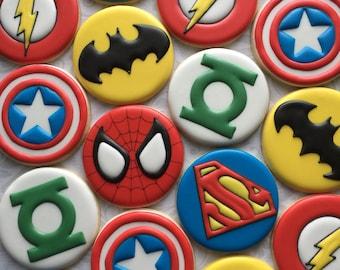 Assorted Superhero cookies- One Dozen (12) Decorated Sugar Cookies