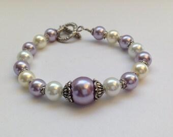 Lavender / White - Bridal Vintage Style Beaded Bracelet