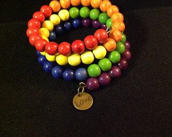 Multicolor Memory Wire Beaded Bracelet