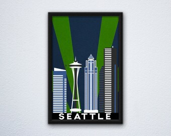 Seattle Skyline Poster featuring the Space Needle in Seattle Seahawks colors