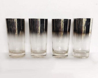 Silver Fade Highball Glasses, Dorothy Thorpe Style, Mid-Century Mad-Men, Set of 5, USA 1960s