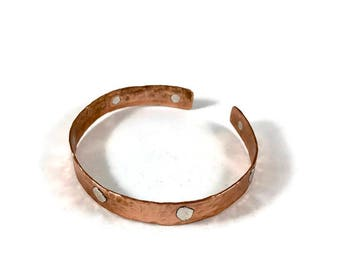 Copper and Sterling Silver Cuff Bracelet - Handmade Copper Bracelet - Small Copper Bracelet
