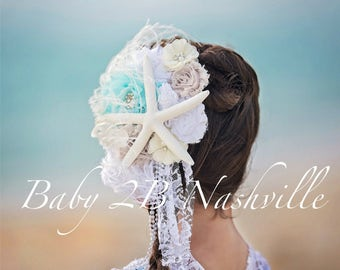 Starfish Aqua Pearls Hairpiece  to match your dress