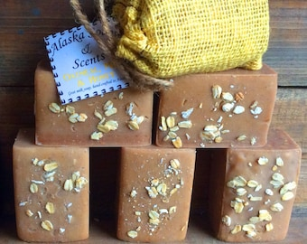 Oatmeal Milk & Honey Goat Milk Soap, oatmeal soap, homemade soap, handcrafted, moisturizing, cold process, exfoliating, goat's milk soap