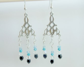 Chandelier Earrings, Sterling Silver Chandelier, Blue Jet Black Swarovski Crystals