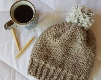 Cozy Knit Light Brown Bobble