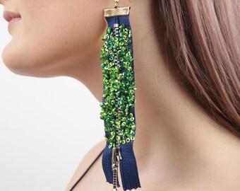 Blue Jazzy Zipper Earring