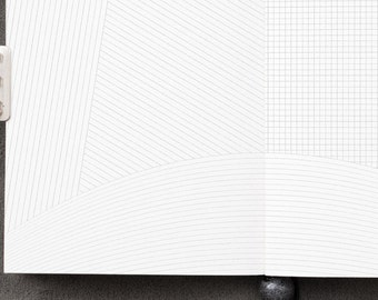 Traveler's Notebook Irregular Notepaper Inserts - PASSPORT size Midori style printable. Diagonal, curved, graph & straight ruled notepaper.