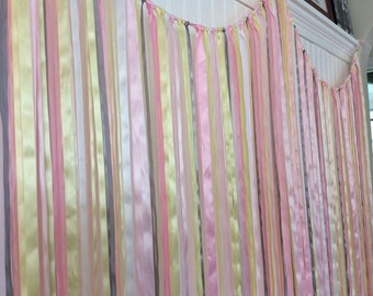 Wedding Ribbon Backdrop, Ribbon backdrop, Wedding Backdrop, Bridal Shower backdrop, Baby shower backdrop, ribbon curtain,