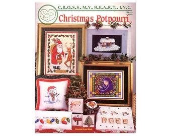 Christmas  Potpourri Cross Stitch Booklet, Santa Cross Stitch, Santas, Christmas Stockings, Christmas Pillows, by NewYorkTreasures
