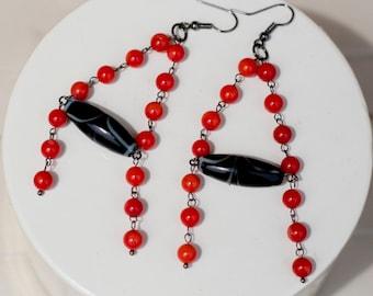chandelier earrings, long dangle earrings, red and black earrings, with black ceramic dzi and red coral beads, tribal boho earrings